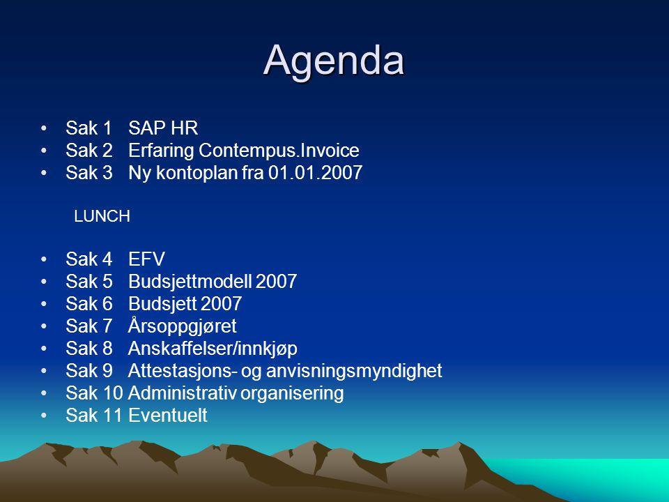 Agenda Sak 1 SAP HR Sak 2 Erfaring Contempus.Invoice