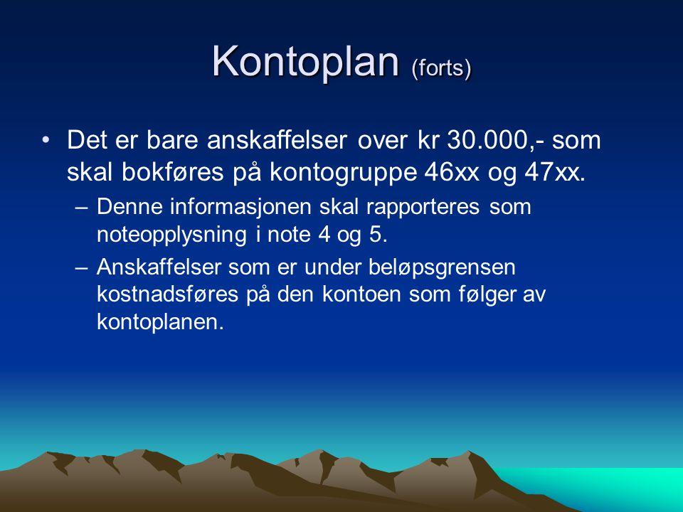 Kontoplan (forts) Det er bare anskaffelser over kr 30.000,- som skal bokføres på kontogruppe 46xx og 47xx.