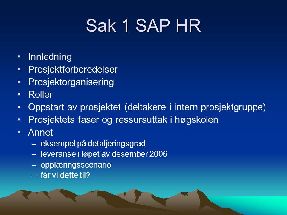 Sak 1 SAP HR Innledning Prosjektforberedelser Prosjektorganisering