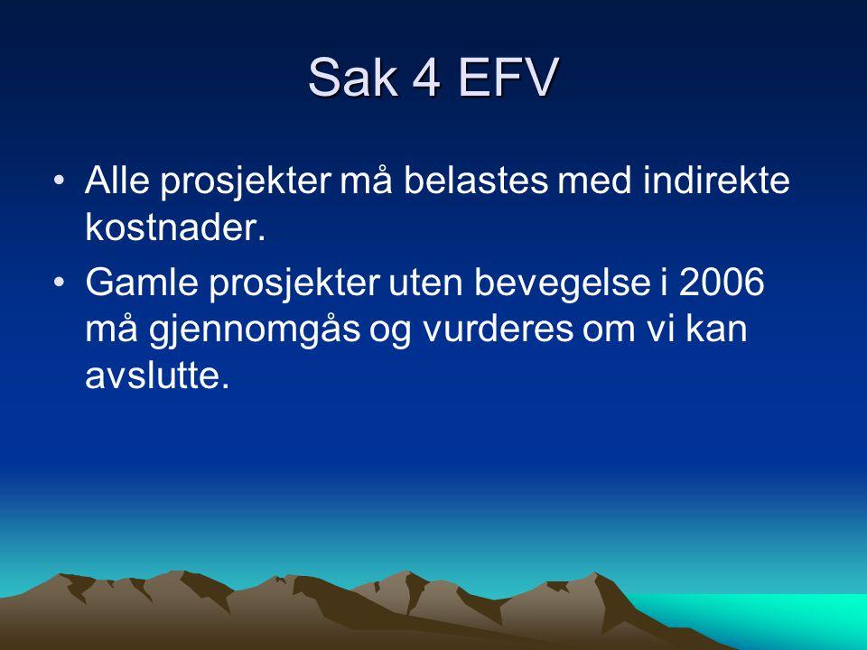 Sak 4 EFV Alle prosjekter må belastes med indirekte kostnader.