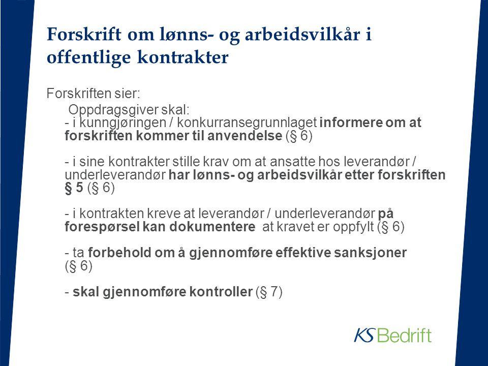 Forskrift om lønns- og arbeidsvilkår i offentlige kontrakter