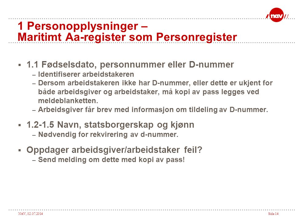1 Personopplysninger – Maritimt Aa-register som Personregister
