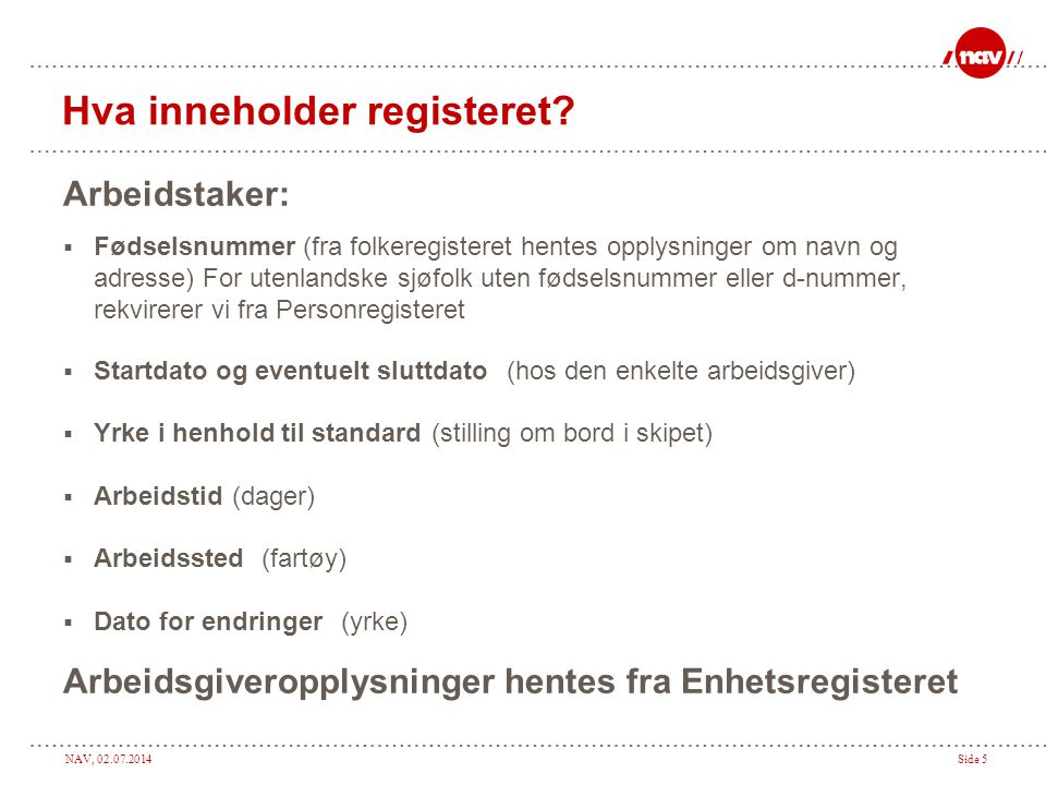 Hva inneholder registeret
