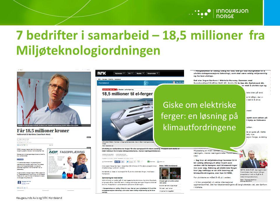 7 bedrifter i samarbeid – 18,5 millioner fra Miljøteknologiordningen