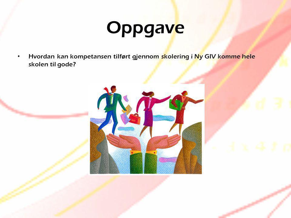 Oppgave Hvordan kan kompetansen tilført gjennom skolering i Ny GIV komme hele skolen til gode