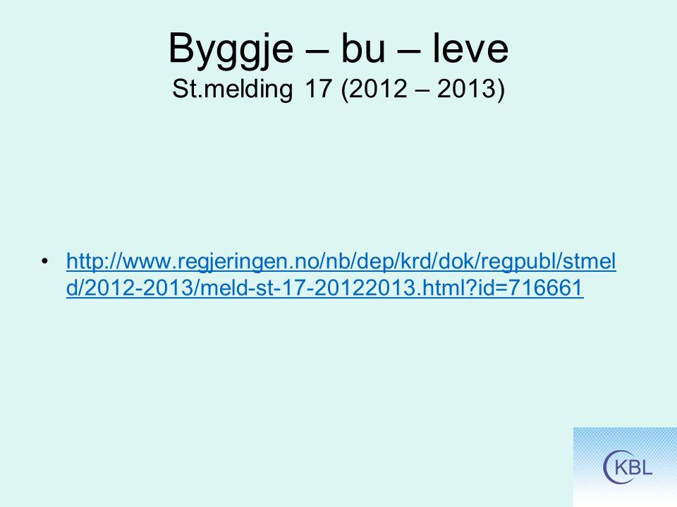 Byggje – bu – leve St.melding 17 (2012 – 2013)