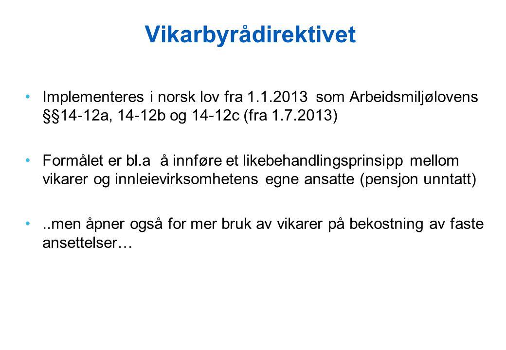 Vikarbyrådirektivet Implementeres i norsk lov fra 1.1.2013 som Arbeidsmiljølovens §§14-12a, 14-12b og 14-12c (fra 1.7.2013)