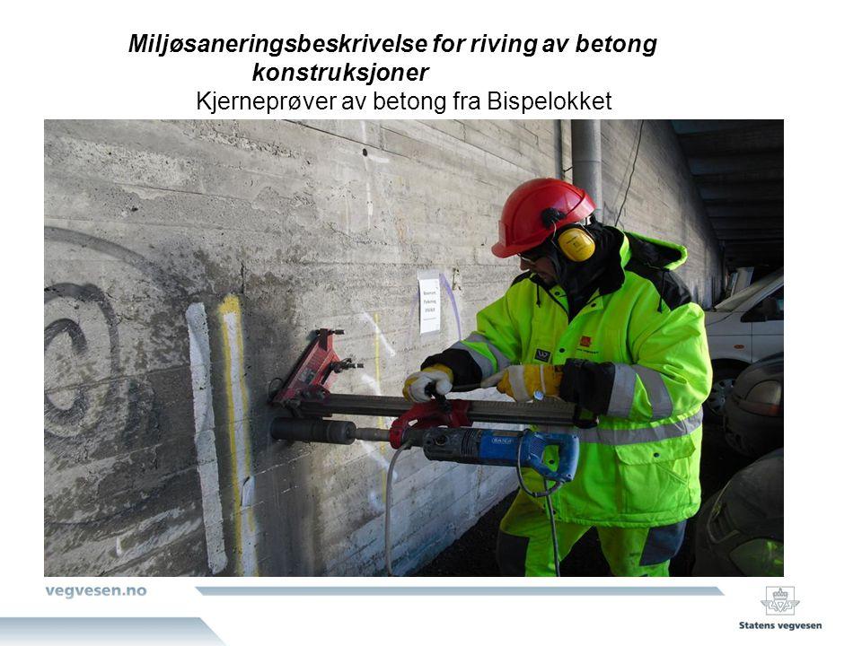 Kjerneprøver av betong fra Bispelokket