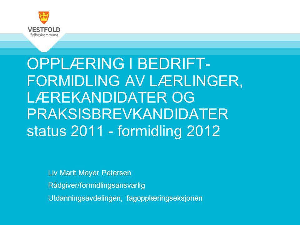 OPPLÆRING I BEDRIFT- FORMIDLING AV LÆRLINGER, LÆREKANDIDATER OG PRAKSISBREVKANDIDATER status 2011 - formidling 2012