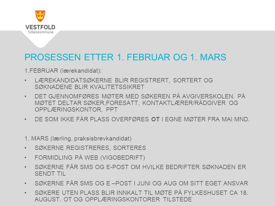 PROSESSEN ETTER 1. FEBRUAR OG 1. MARS