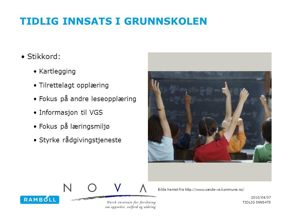 TIDLIG INNSATS I Grunnskolen