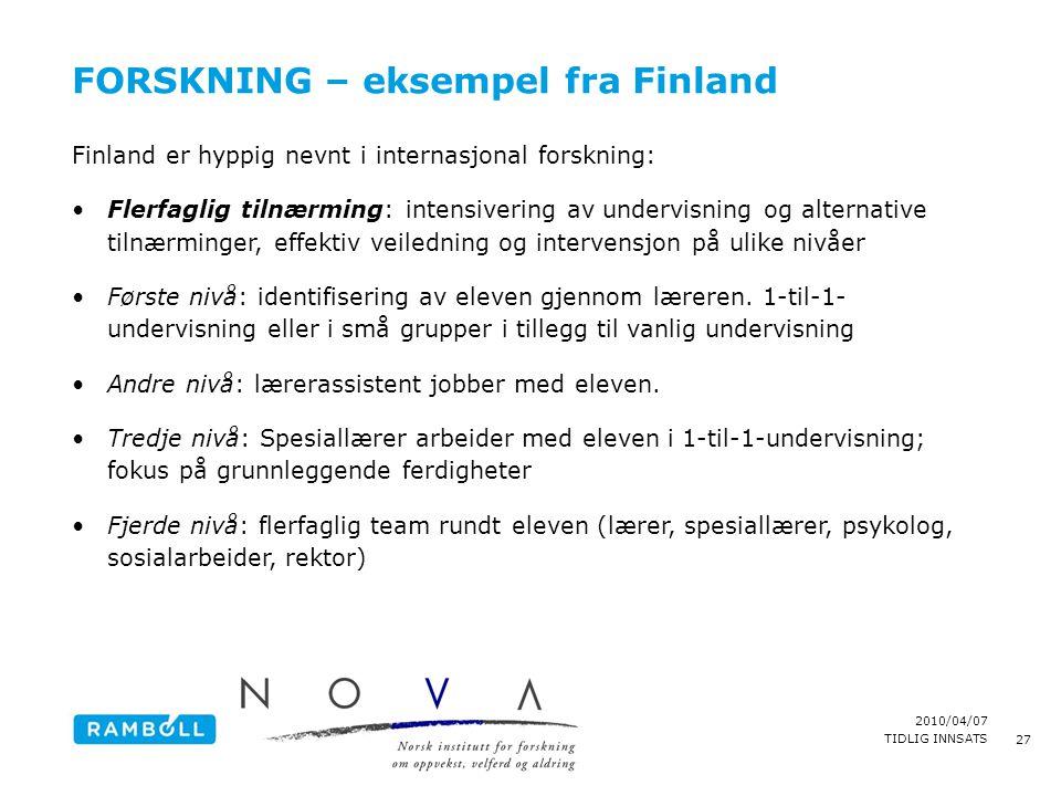 FORSKNING – eksempel fra Finland