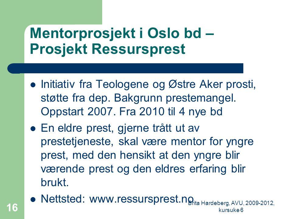 Mentorprosjekt i Oslo bd – Prosjekt Ressursprest