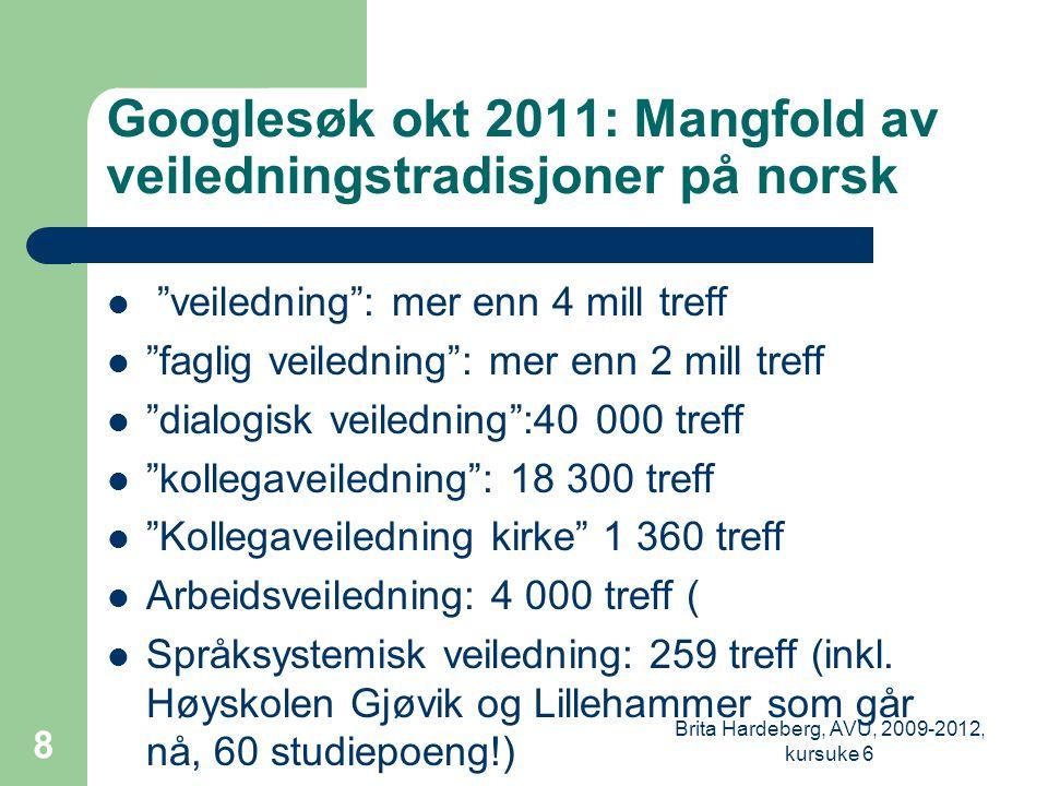 Googlesøk okt 2011: Mangfold av veiledningstradisjoner på norsk