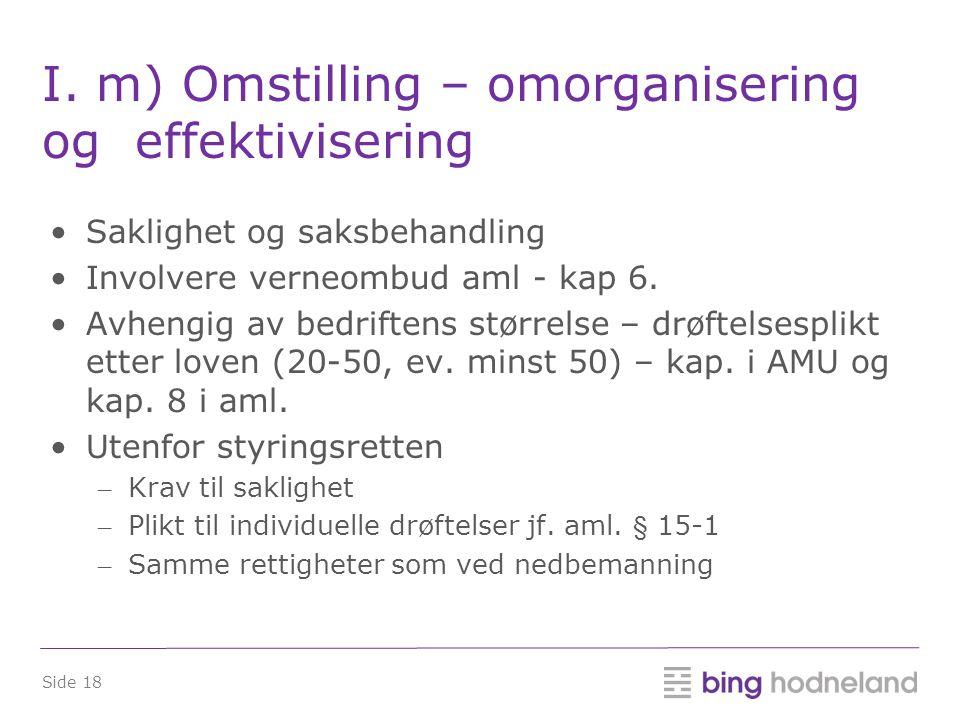 I. m) Omstilling – omorganisering og effektivisering