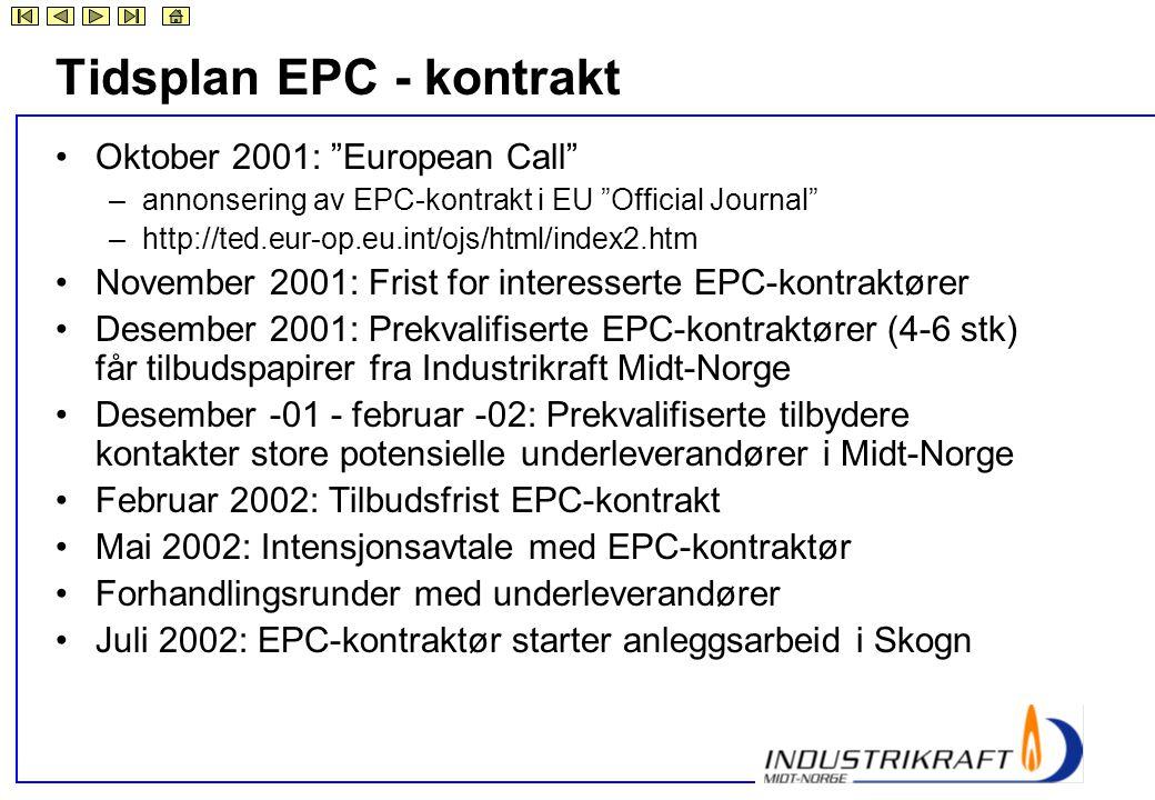 Tidsplan EPC - kontrakt