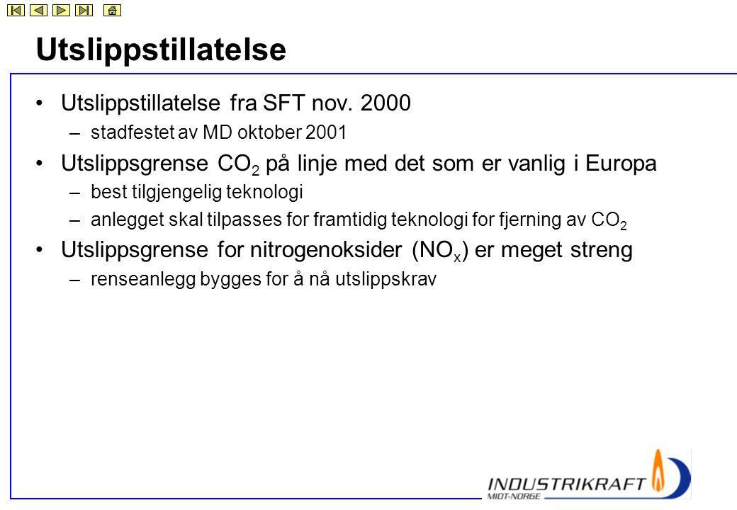 Utslippstillatelse Utslippstillatelse fra SFT nov. 2000