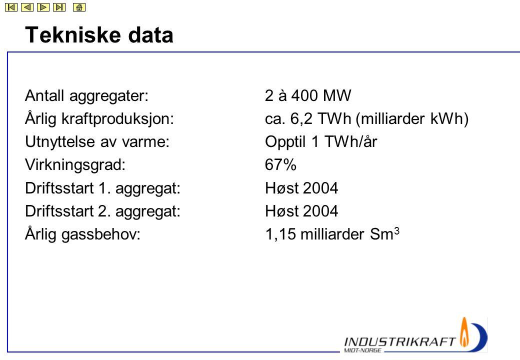 Tekniske data Antall aggregater: 2 à 400 MW