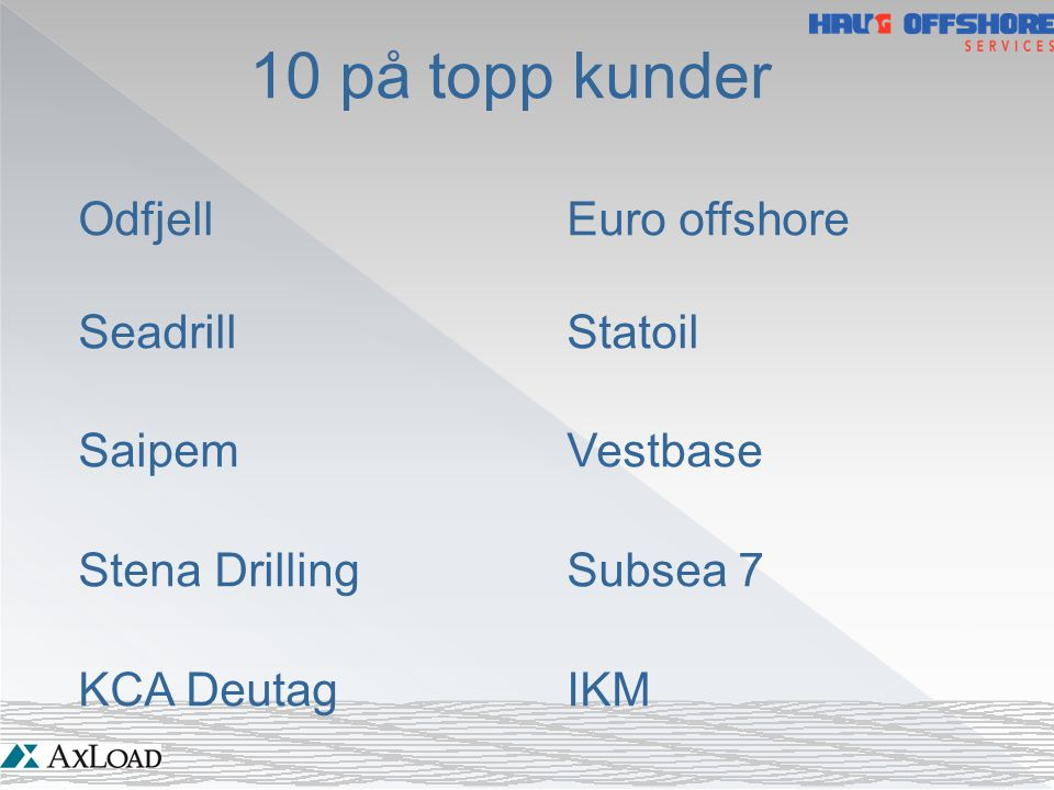 10 på topp kunder Odfjell Euro offshore Seadrill Statoil