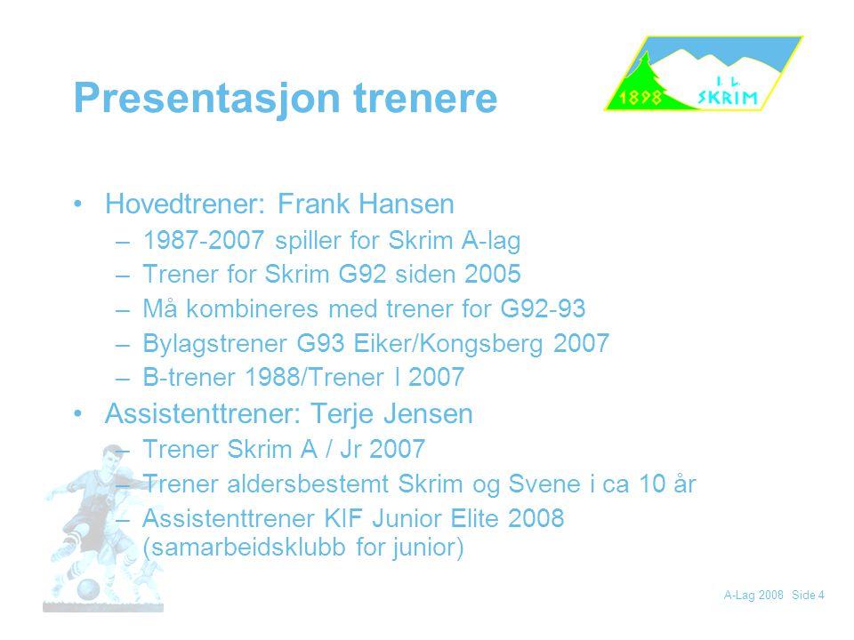 Presentasjon trenere Hovedtrener: Frank Hansen