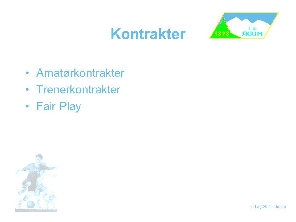 Kontrakter Amatørkontrakter Trenerkontrakter Fair Play