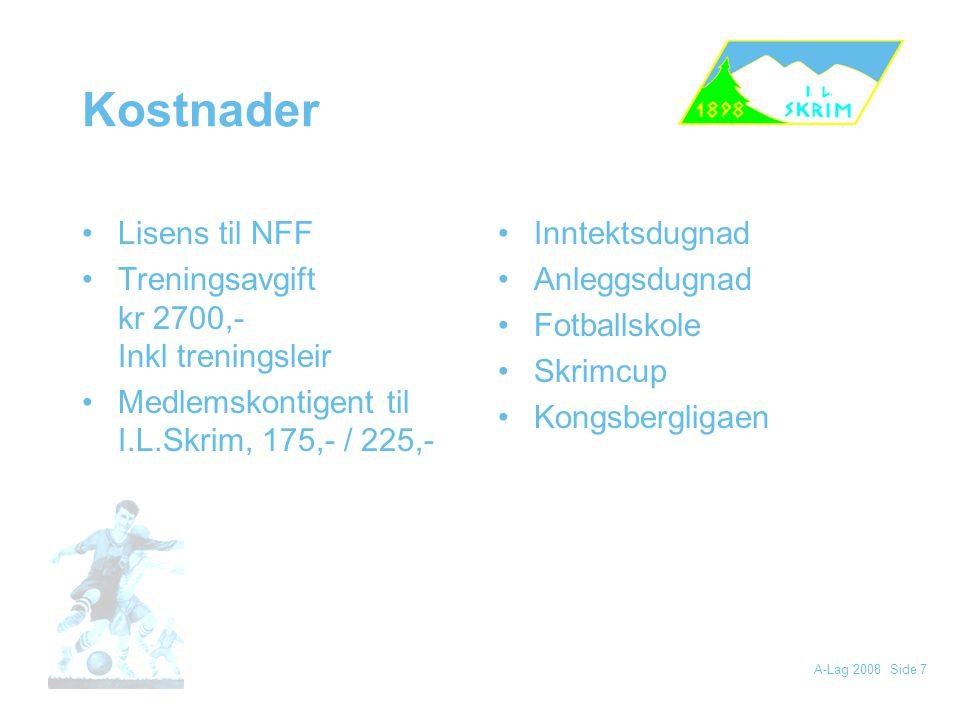 Kostnader Lisens til NFF Treningsavgift kr 2700,- Inkl treningsleir