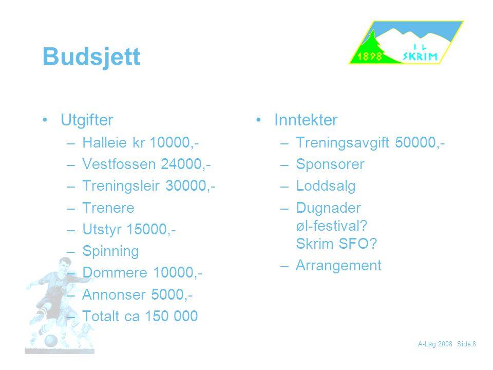 Budsjett Utgifter Inntekter Halleie kr 10000,- Vestfossen 24000,-