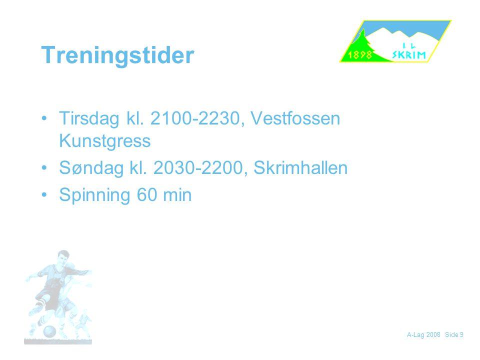 Treningstider Tirsdag kl. 2100-2230, Vestfossen Kunstgress