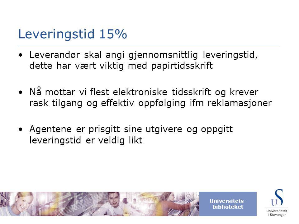 Leveringstid 15% Leverandør skal angi gjennomsnittlig leveringstid, dette har vært viktig med papirtidsskrift.