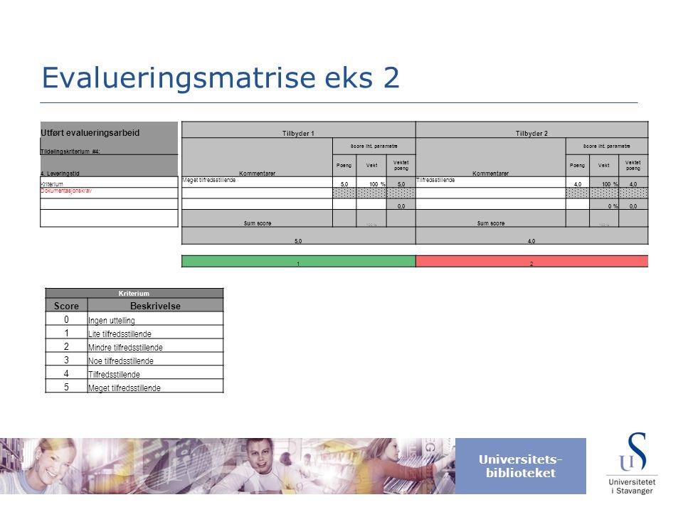 Evalueringsmatrise eks 2