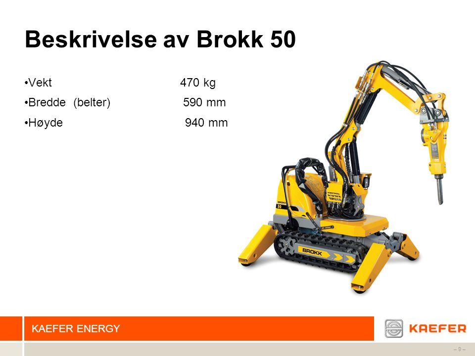 Beskrivelse av Brokk 50 Vekt 470 kg Bredde (belter) 590 mm