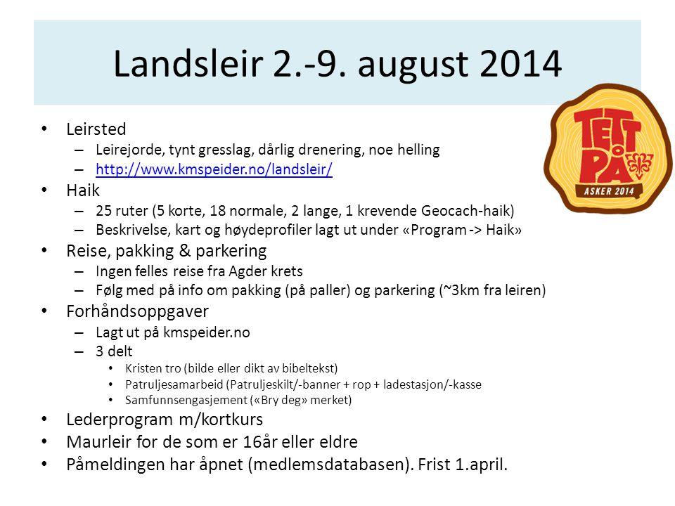 Landsleir 2.-9. august 2014 Leirsted Haik Reise, pakking & parkering