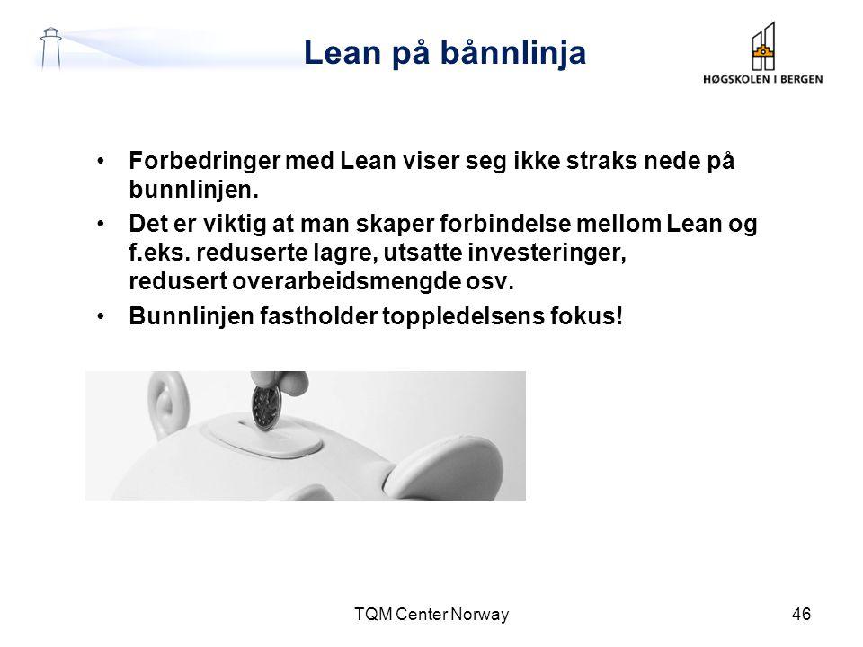 Lean på bånnlinja Forbedringer med Lean viser seg ikke straks nede på bunnlinjen.