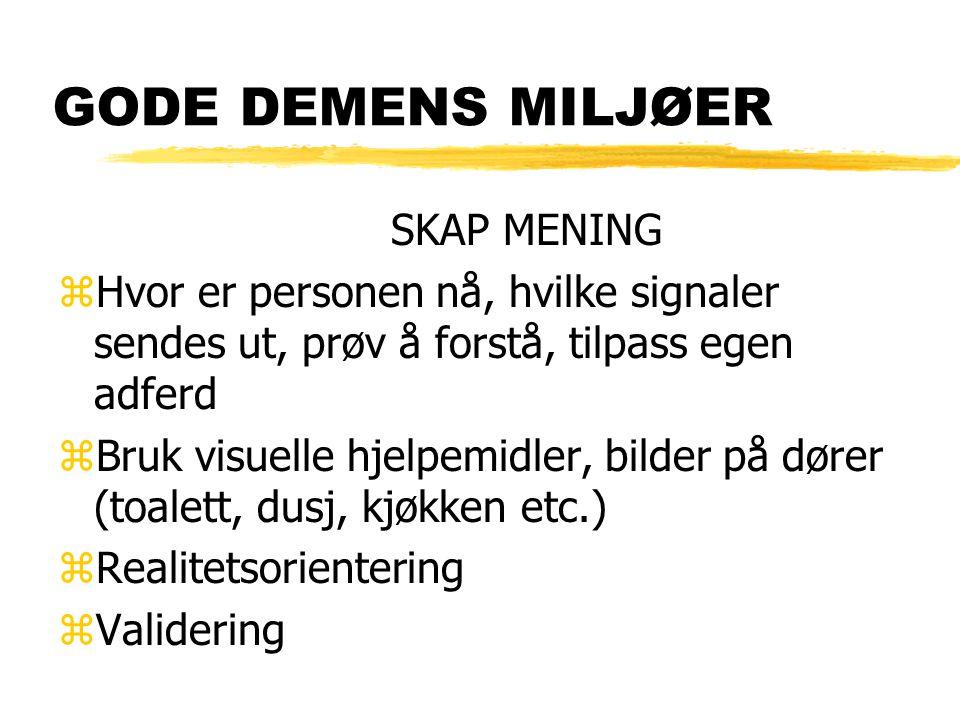 GODE DEMENS MILJØER SKAP MENING