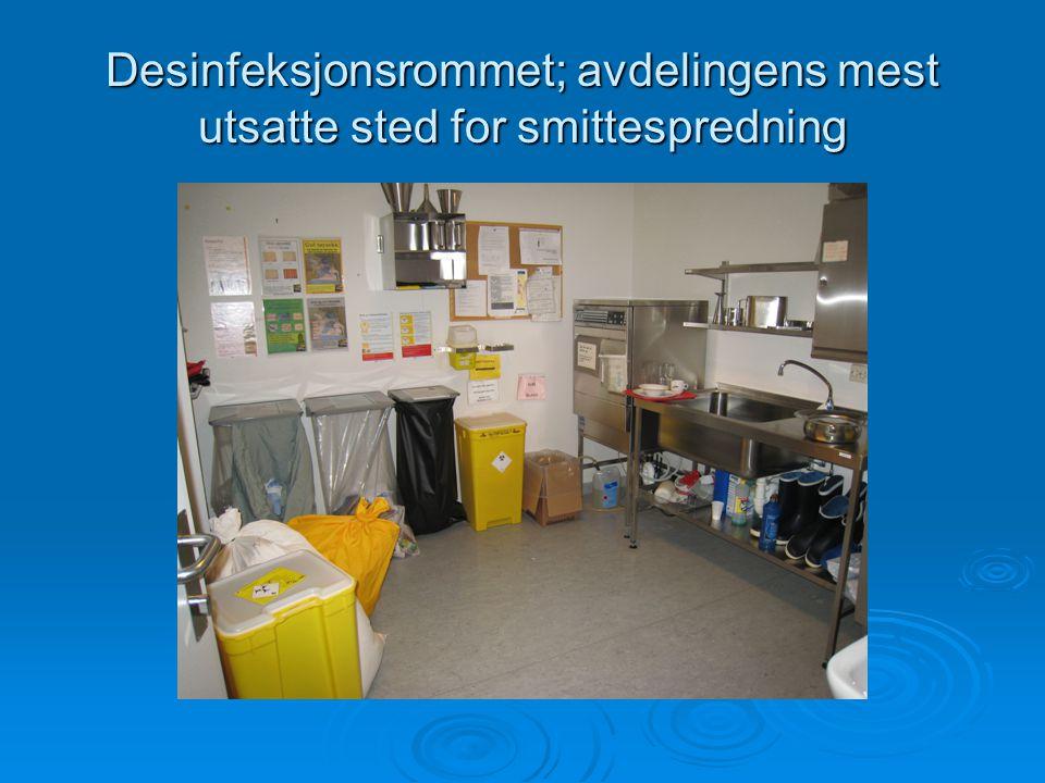 Desinfeksjonsrommet; avdelingens mest utsatte sted for smittespredning