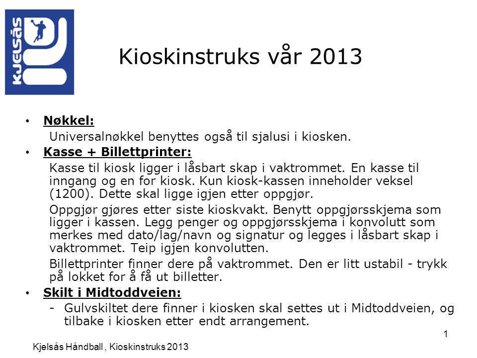 Kjelsås Håndball , Kioskinstruks 2013