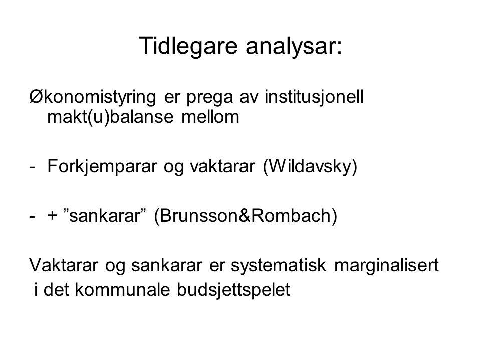 Tidlegare analysar: Økonomistyring er prega av institusjonell makt(u)balanse mellom. Forkjemparar og vaktarar (Wildavsky)