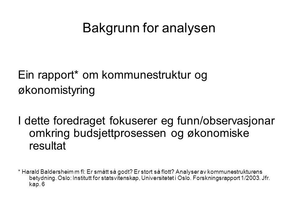 Bakgrunn for analysen Ein rapport* om kommunestruktur og