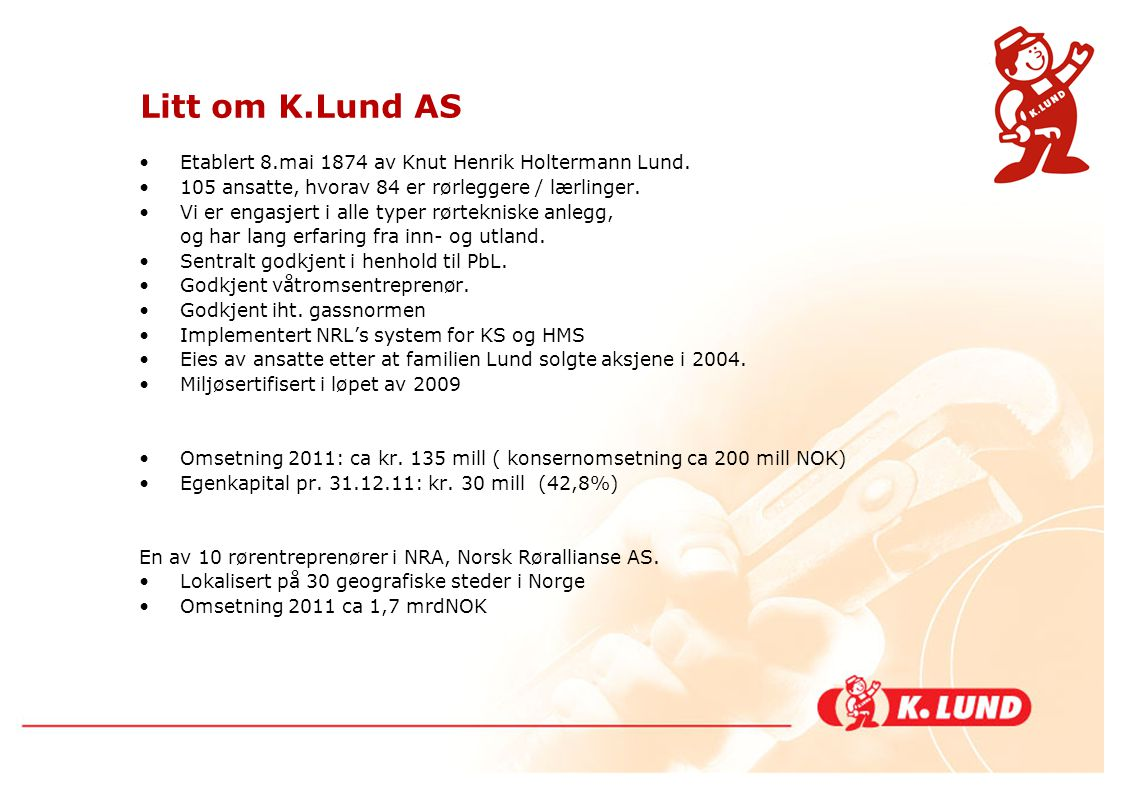 Litt om K.Lund AS Etablert 8.mai 1874 av Knut Henrik Holtermann Lund.