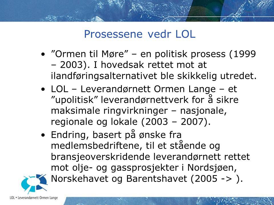 Prosessene vedr LOL Ormen til Møre – en politisk prosess (1999 – 2003). I hovedsak rettet mot at ilandføringsalternativet ble skikkelig utredet.