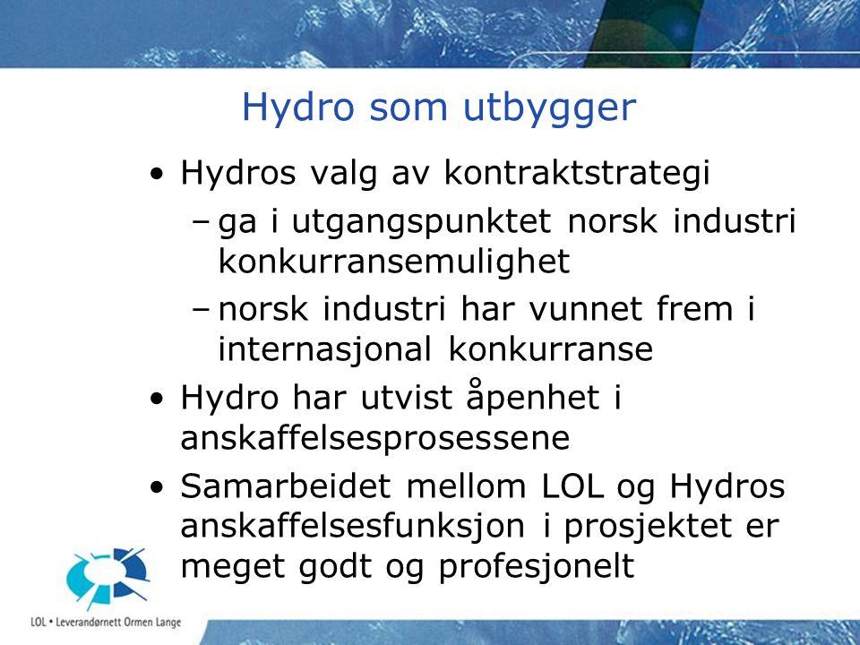 Hydro som utbygger Hydros valg av kontraktstrategi