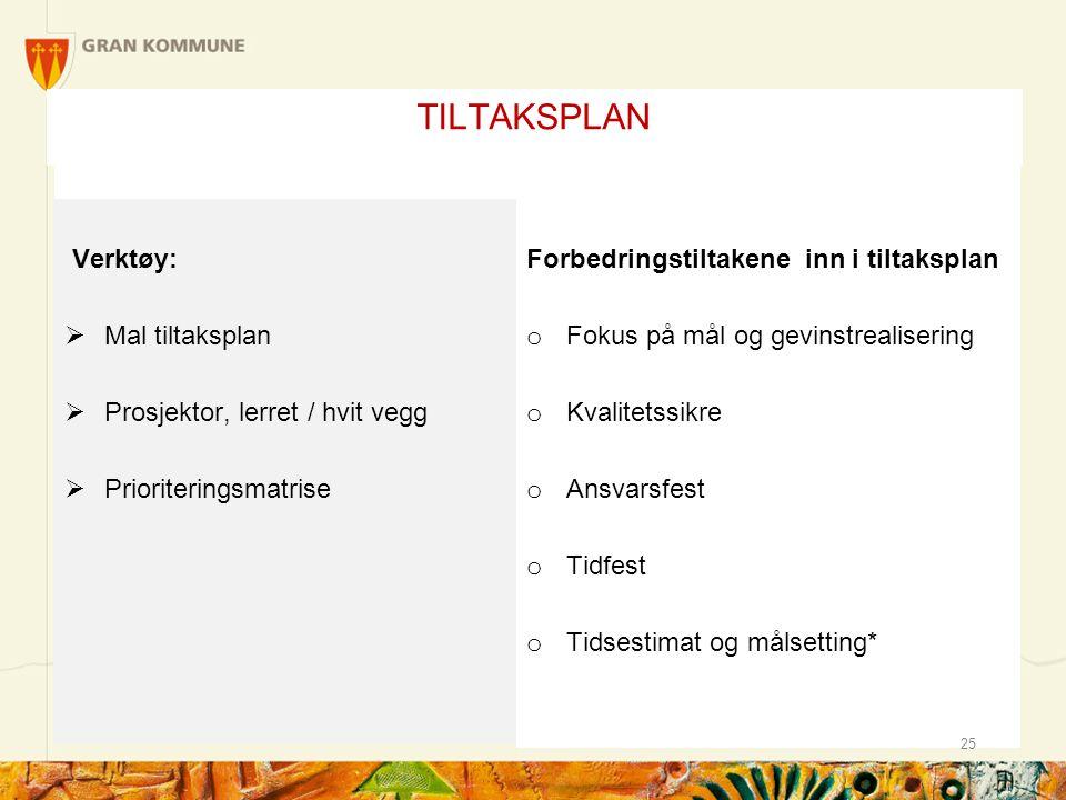TILTAKSPLAN Verktøy: Mal tiltaksplan Prosjektor, lerret / hvit vegg
