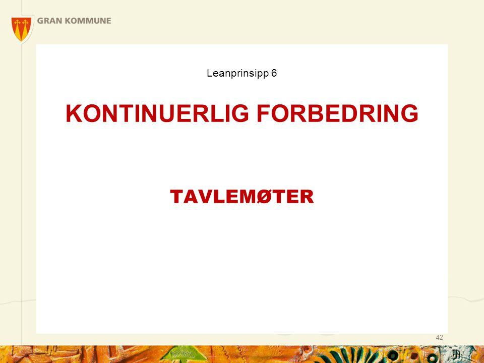 Leanprinsipp 6 KONTINUERLIG FORBEDRING TAVLEMØTER