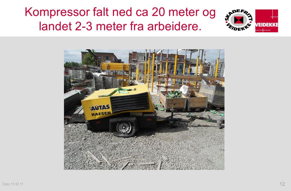 Kompressor falt ned ca 20 meter og landet 2-3 meter fra arbeidere.