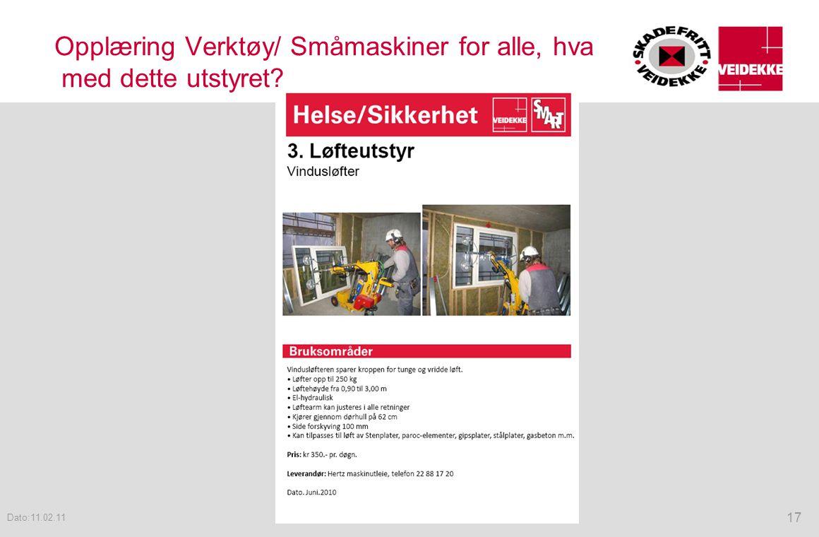 Opplæring Verktøy/ Småmaskiner for alle, hva med dette utstyret