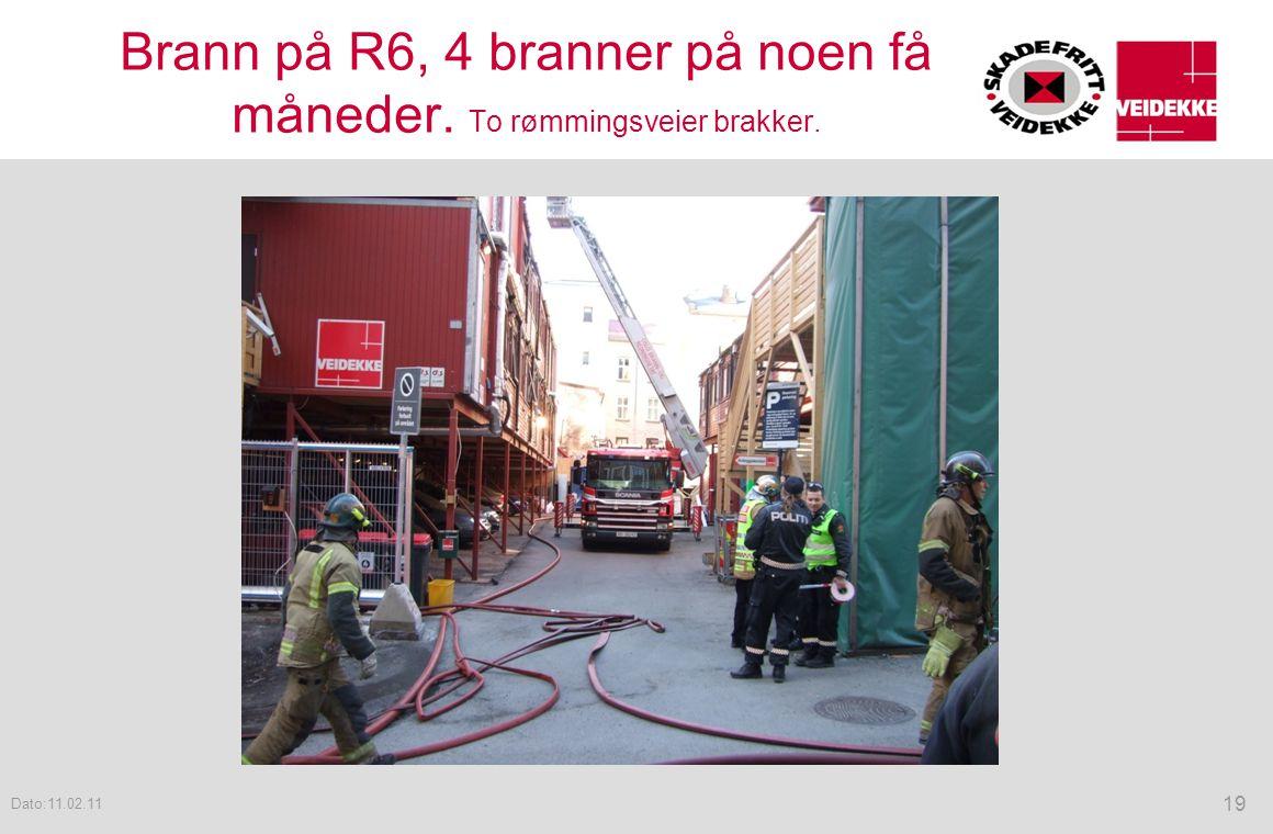 Brann på R6, 4 branner på noen få måneder. To rømmingsveier brakker.