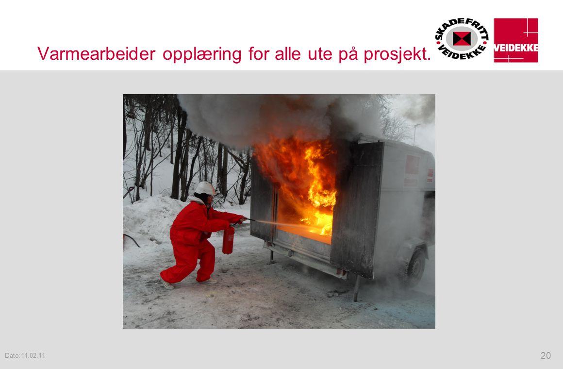 Varmearbeider opplæring for alle ute på prosjekt.
