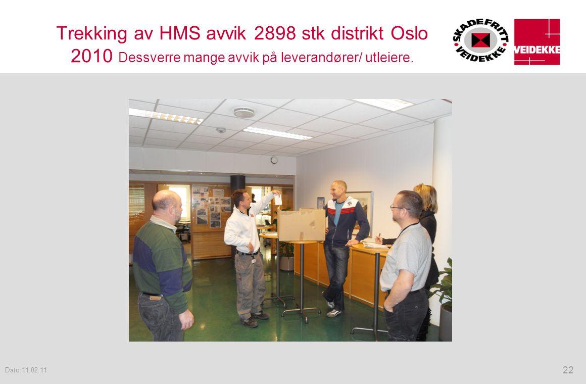 Trekking av HMS avvik 2898 stk distrikt Oslo 2010 Dessverre mange avvik på leverandører/ utleiere.