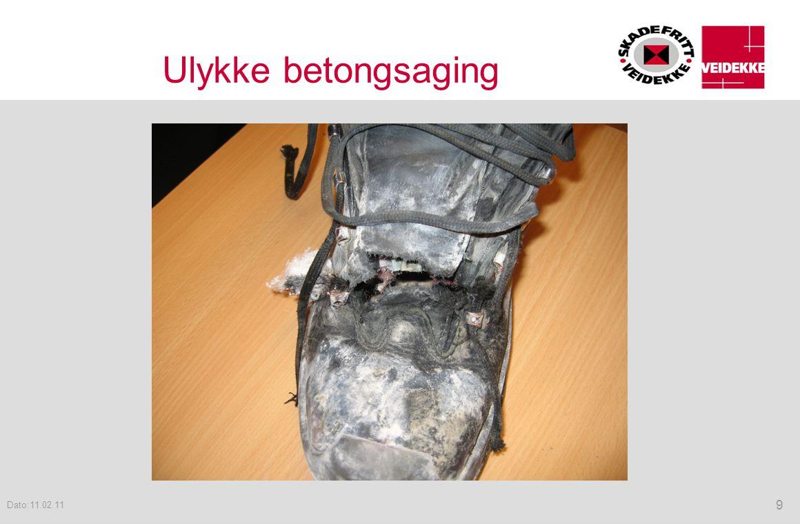 Ulykke betongsaging Dato:11.02.11