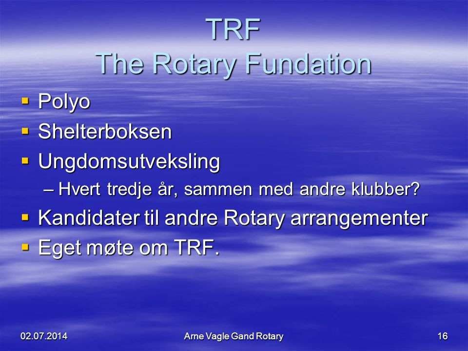 TRF The Rotary Fundation